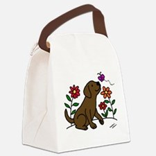Chocolate Labrador and Green Canvas Lunch Bag