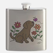Chocolate Labrador and Green Flask