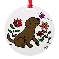 Chocolate Labrador and Green Ornament