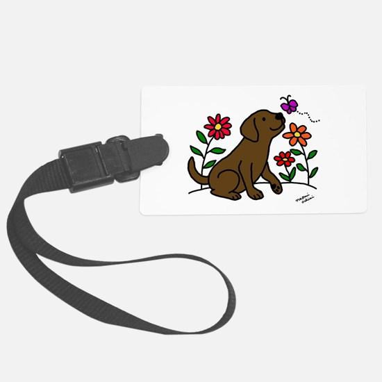 Chocolate Labrador and Green Luggage Tag
