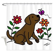 Chocolate Labrador and Green Shower Curtain