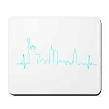 New York Heartbeat AQUA Mousepad