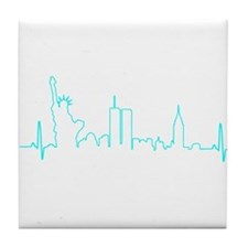 New York Heartbeat (Heart) AQUA Tile Coaster