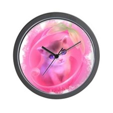 Adorable Pink Kitten Wall Clock