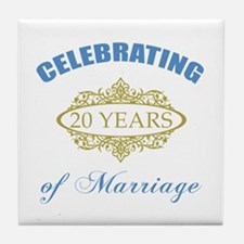 Celebrating 20 Years Of Marriage Tile Coaster