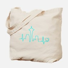 Seattle Heartbeat (Heart) AQUA Tote Bag