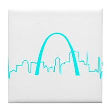 St. Louis Heartbeat (Heart) AQUA Tile Coaster