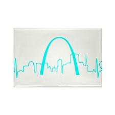 St. Louis Heartbeat (Heart) AQUA Rectangle Magnet