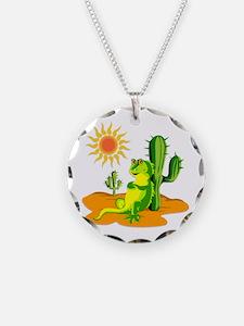 Cactus in the Desert Iguana Necklace