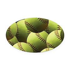 Softball Wallpaper Oval Car Magnet