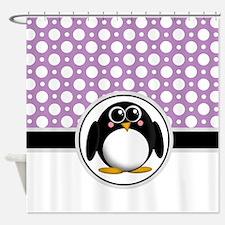 Cute Penguin Purple Polka Dot Shower Curtain