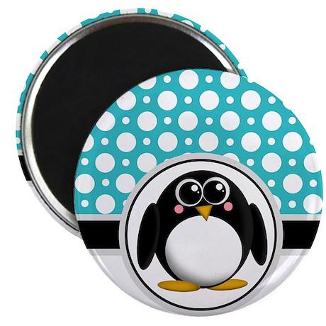 Cute Penguin Teal Polka Dot Magnet