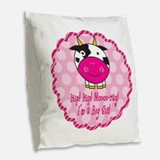Cute Cow Big Sister Burlap Throw Pillow
