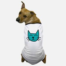 Aqua Cat Face Dog T-Shirt