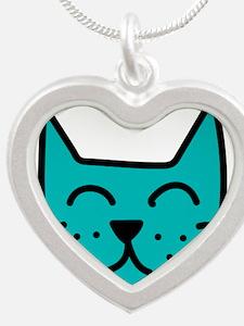 Aqua Cat Face Necklaces