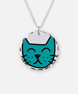 Aqua Cat Face Necklace