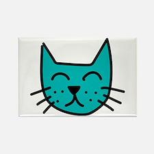 Aqua Cat Face Rectangle Magnet