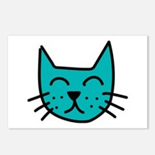 Aqua Cat Face Postcards (Package of 8)