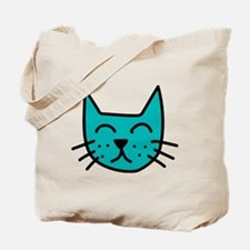 Aqua Cat Face Tote Bag