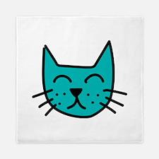 Aqua Cat Face Queen Duvet