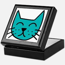 Aqua Cat Face Keepsake Box