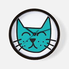 Aqua Cat Face Wall Clock