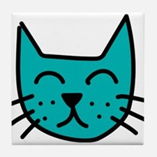 Aqua Cat Face Tile Coaster