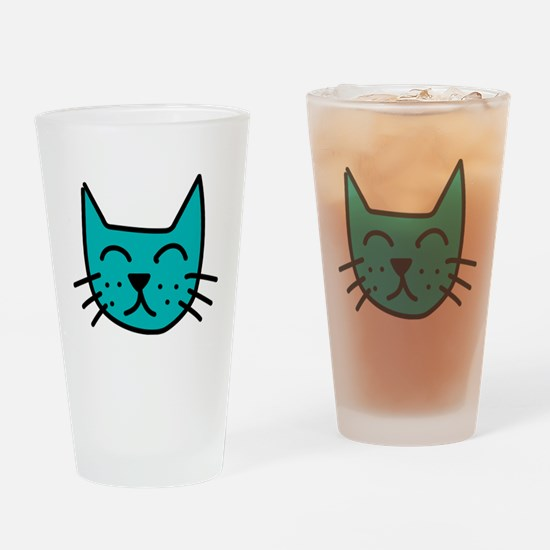 Aqua Cat Face Drinking Glass