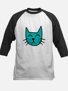 Aqua Cat Face Baseball Jersey