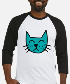 Aqua Cat Face Baseball Jersey
