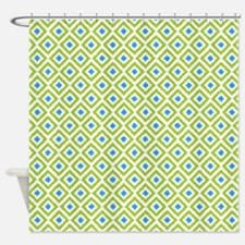 Green Blue Ikat Diamonds Shower Curtain