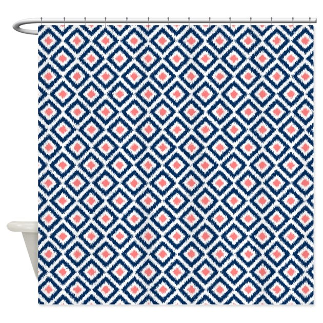 Navy Blue Coral Diamonds Ikat Shower Curtain By Mcornwallshop