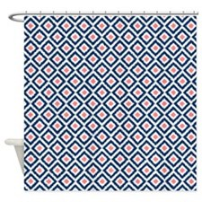 Navy Blue Coral Diamonds Ikat Shower Curtain