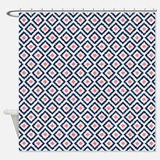 Navy Blue Coral Diamonds Ikat Shower Curtain