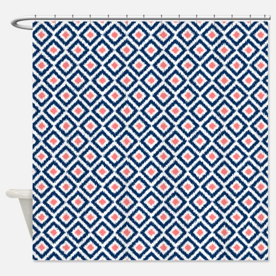 navy and coral shower curtain. Navy Blue Coral Diamonds Ikat Shower Curtain Pattern Curtains  CafePress