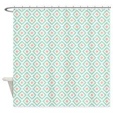 Mint Coral Diamonds Ikat Shower Curtain