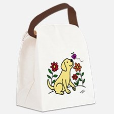 Yellow Labrador and Green Canvas Lunch Bag