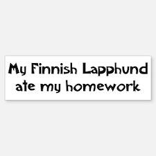 Finnish Lapphund ate my homew Bumper Bumper Bumper Sticker