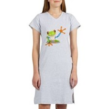 Green and Orange Frog Women's Nightshirt