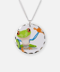 Green and Orange Frog Necklace