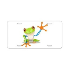 Green and Orange Frog Aluminum License Plate