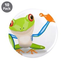 """Green and Orange Frog 3.5"""" Button (10 pack)"""