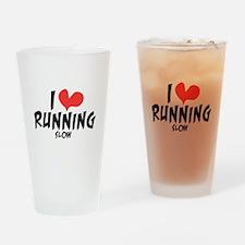 Funny I heart running slow Drinking Glass