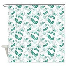 Faux Glitter Leaves Shower Curtain