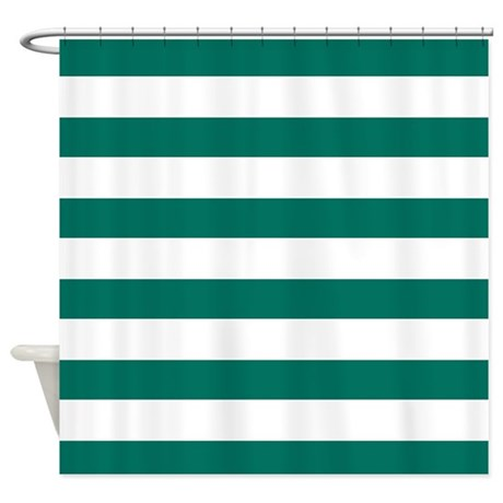 Dark Teal Bold Stripes Shower Curtain By HHTrendyHome