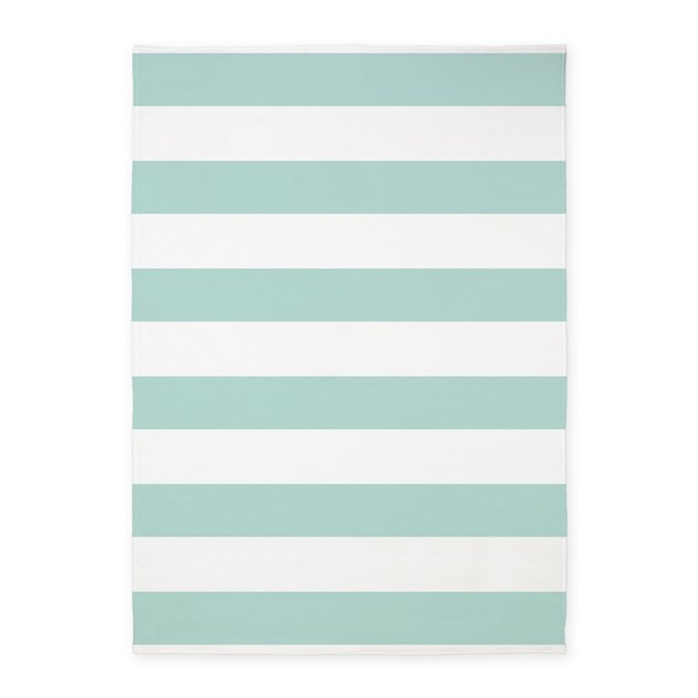 Light Teal Bold Stripes 5'x7'Area Rug By HHTrendyHome