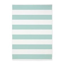 Light Teal Bold Stripes 5'x7'Area Rug