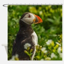Puffin In Flowers And Grass Shower Curtain