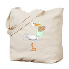 STORK WITH AFRO AMERICAN TWINS- 1 BOY 1 GIRL Tote