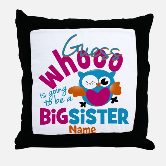 Personalized Big Sister - Owl Throw Pillow